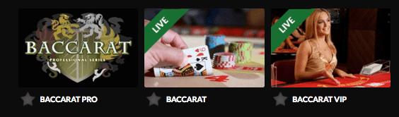 Guts Casino tilbyr et utvalg Baccarat-varianter