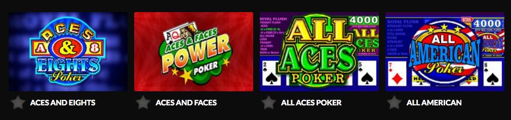 Video Poker-utvalg hos Guts Casino