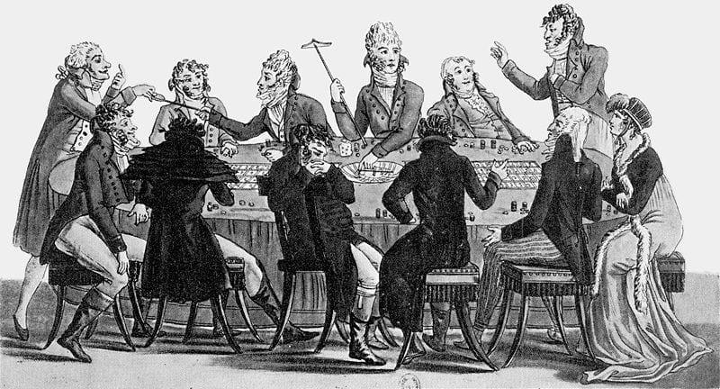 Illustrasjon av menn med parykk som spiller Roulette på 1800-tallet