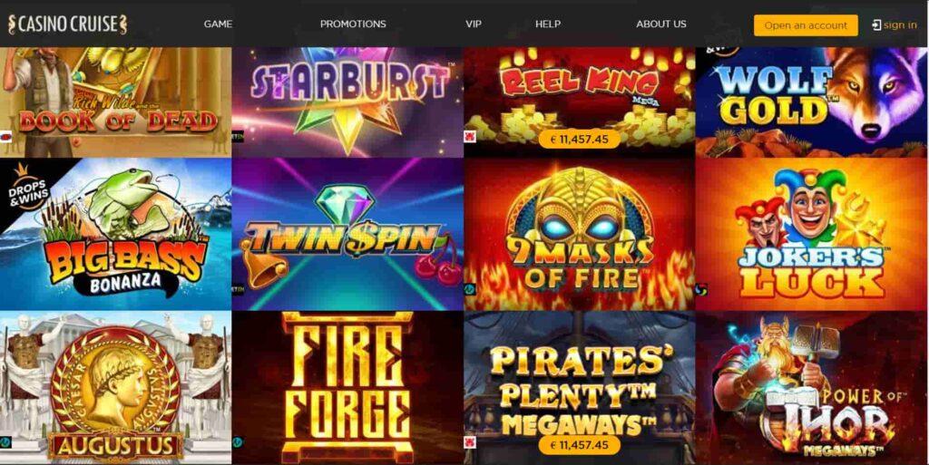 Casino Cruise game selection