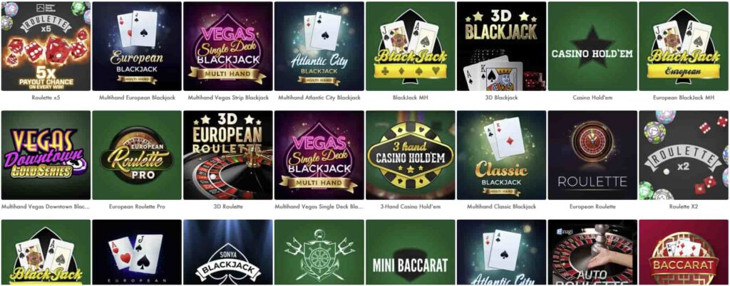 Table Games at Slot Vegas